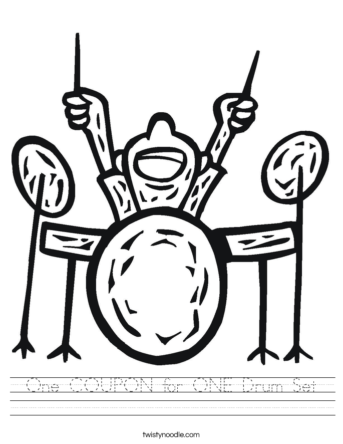 Drum Set Outline One Coupon For One Drum Set