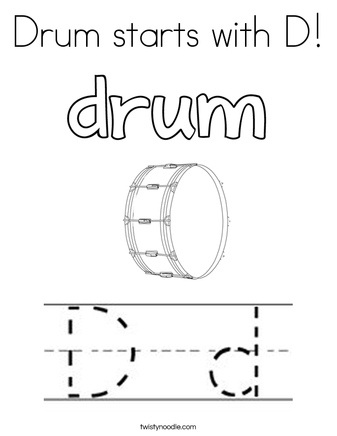 Drum starts with D! Coloring Page