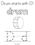 Drum starts with D Coloring Page
