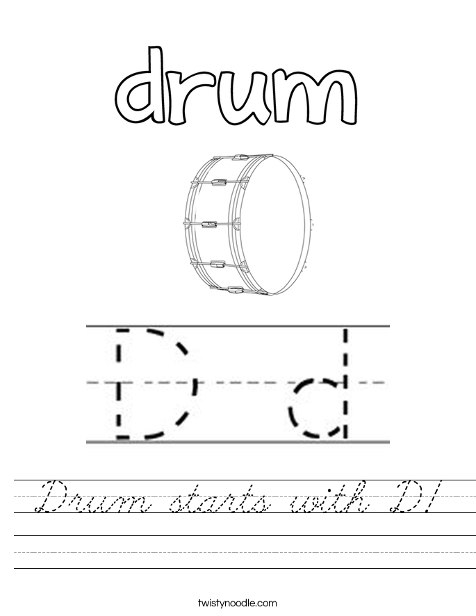 Drum starts with D! Worksheet
