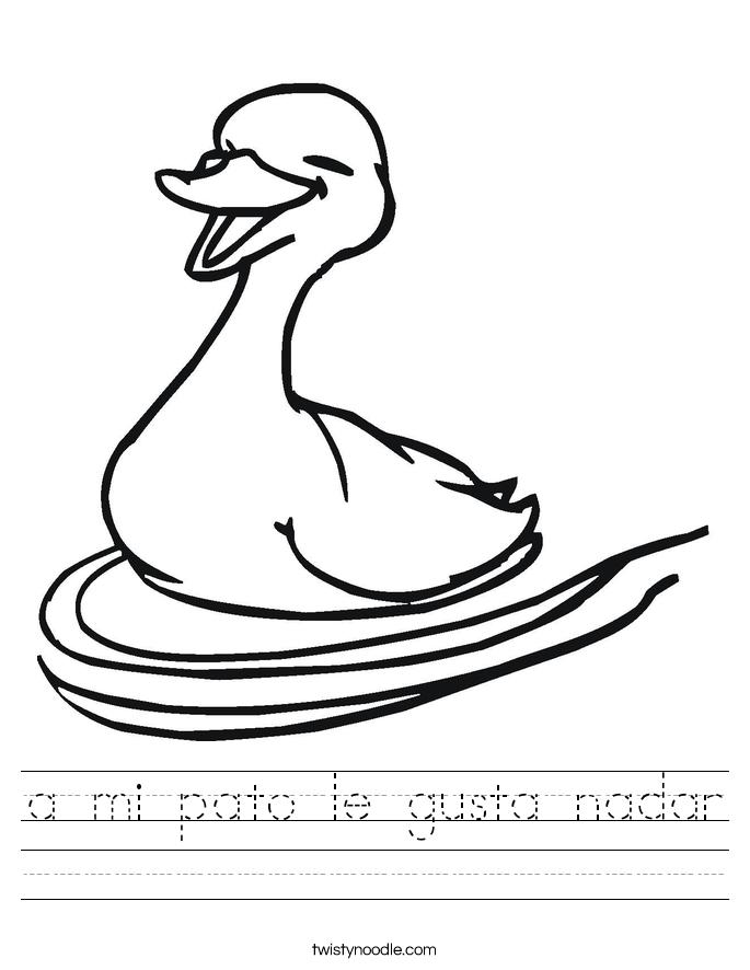 a mi pato le gusta nadar Worksheet
