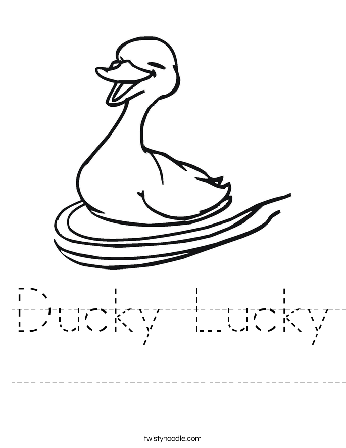 Ducky Lucky Worksheet