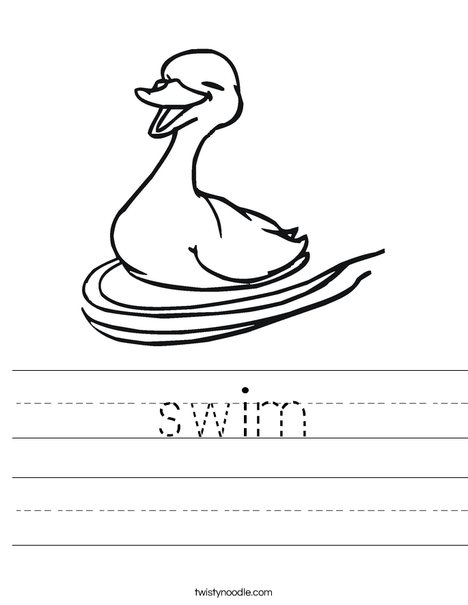 Happy Duck Swimming Worksheet