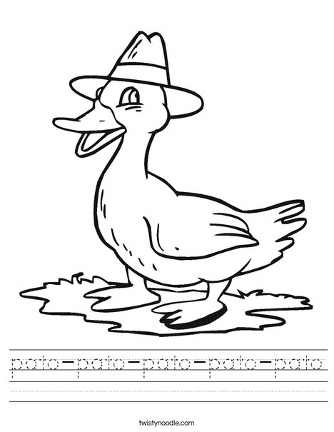 Duck with a Hat Worksheet