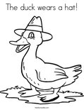 The duck wears a hat!Coloring Page