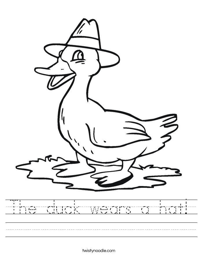 The duck wears a hat! Worksheet