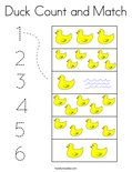 Duck Count and Match Coloring Page