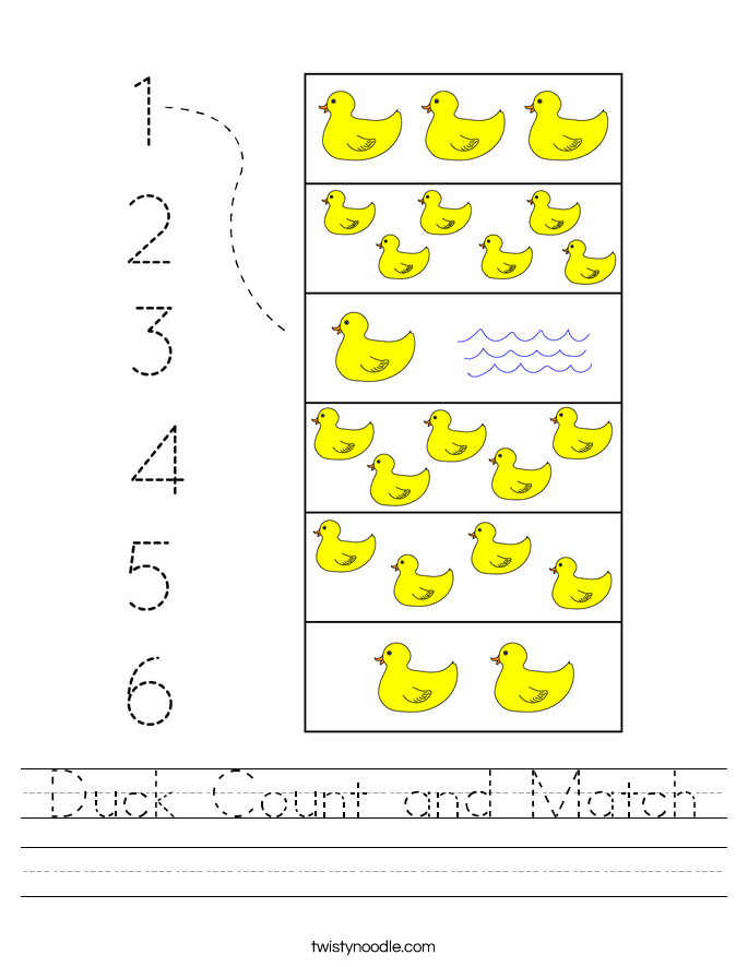 Duck Count and Match Worksheet