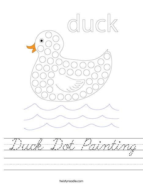 Duck Dot Painting Worksheet