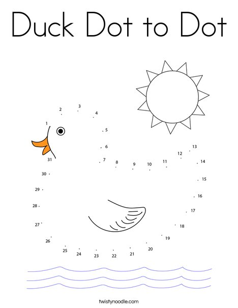 Duck Dot to Dot Coloring Page