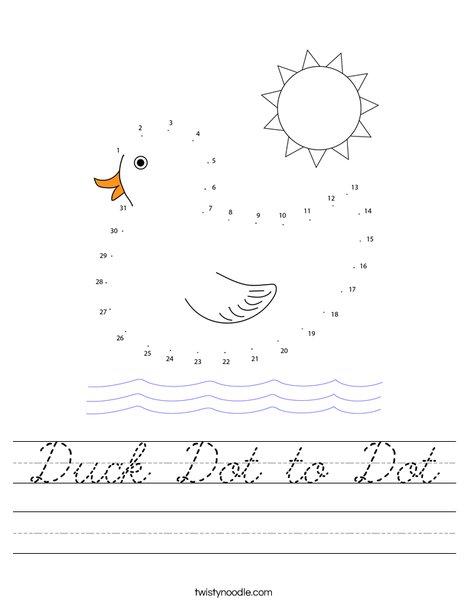 Duck Dot to Dot Worksheet