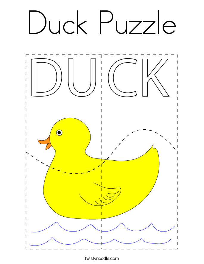 Duck Puzzle Coloring Page