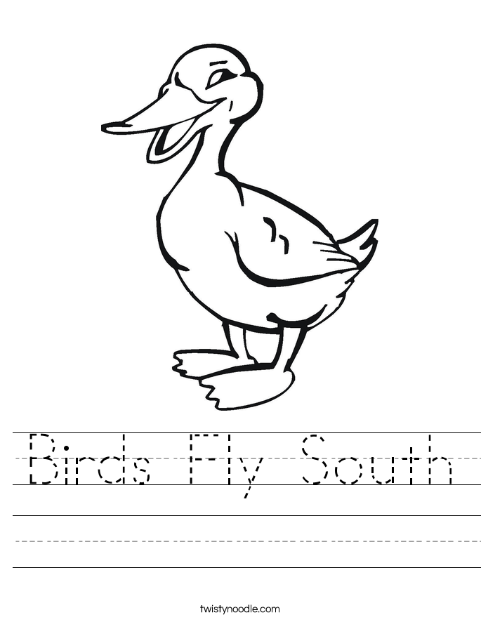 Birds Fly South Worksheet