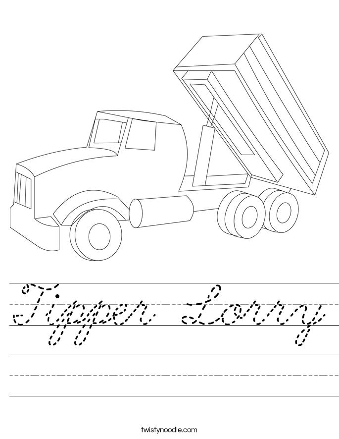 Tipper Lorry Worksheet