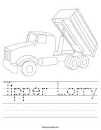 Tipper Lorry Handwriting Sheet