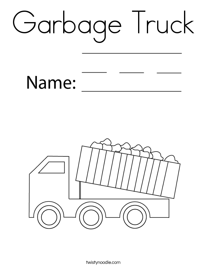 Simple Garbage Truck Coloring Page With Garbage Truck