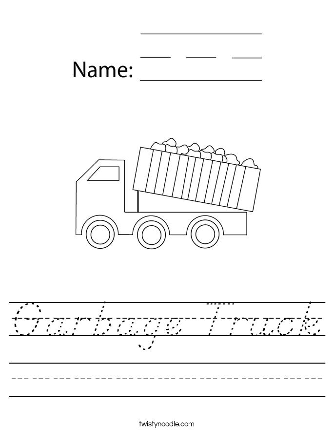 Garbage Truck Worksheet