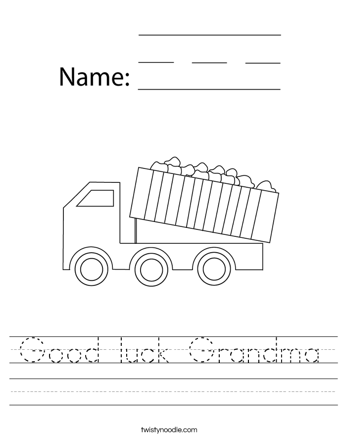 Good luck Grandma Worksheet