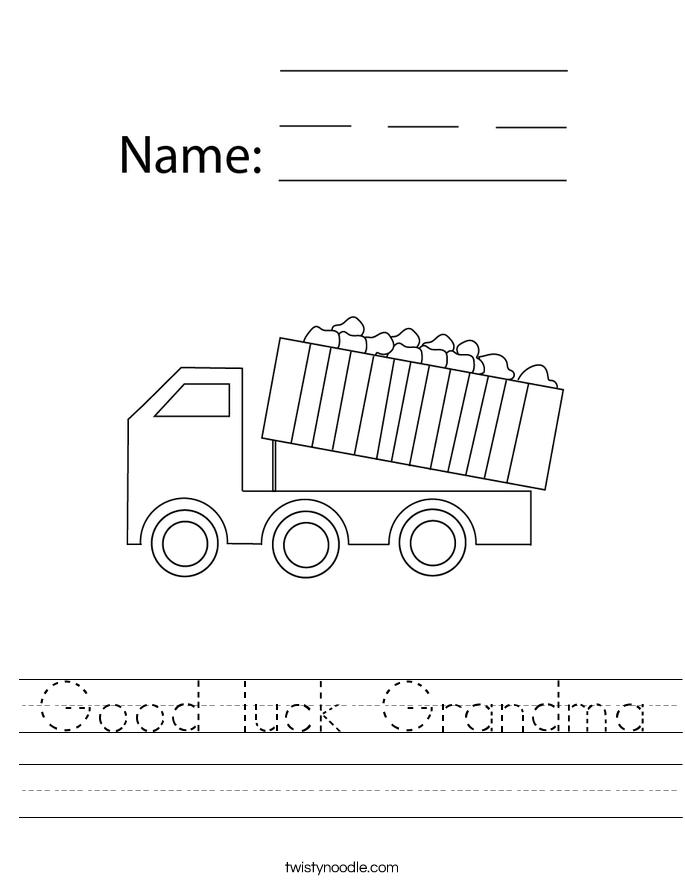 Good luck Grandma Worksheet