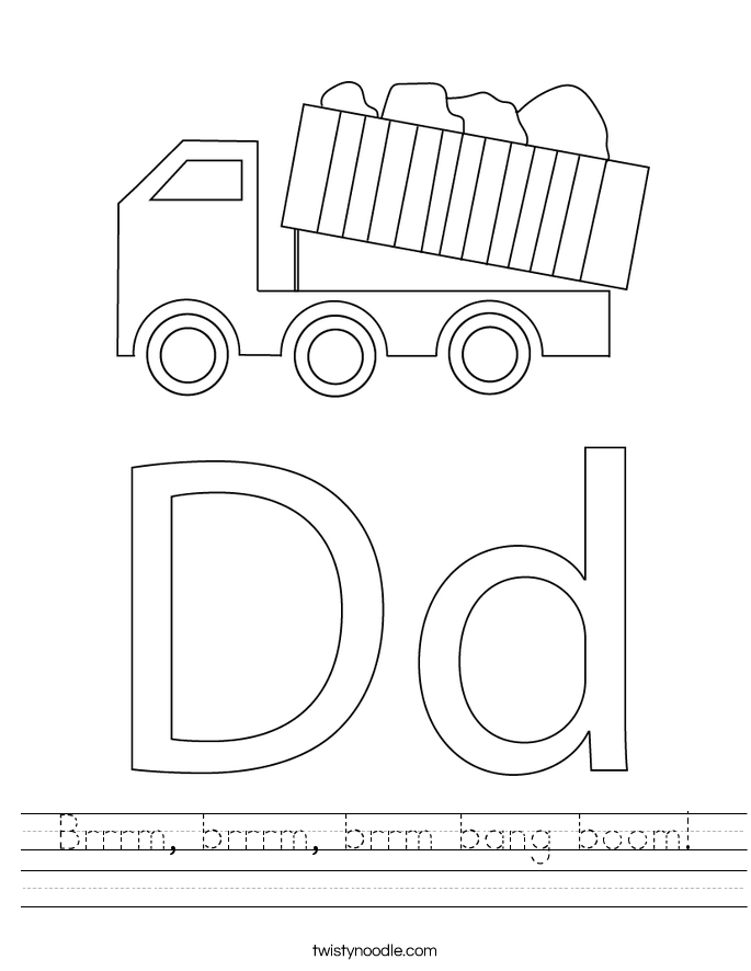 Brrrm, brrrm, brrm bang boom! Worksheet