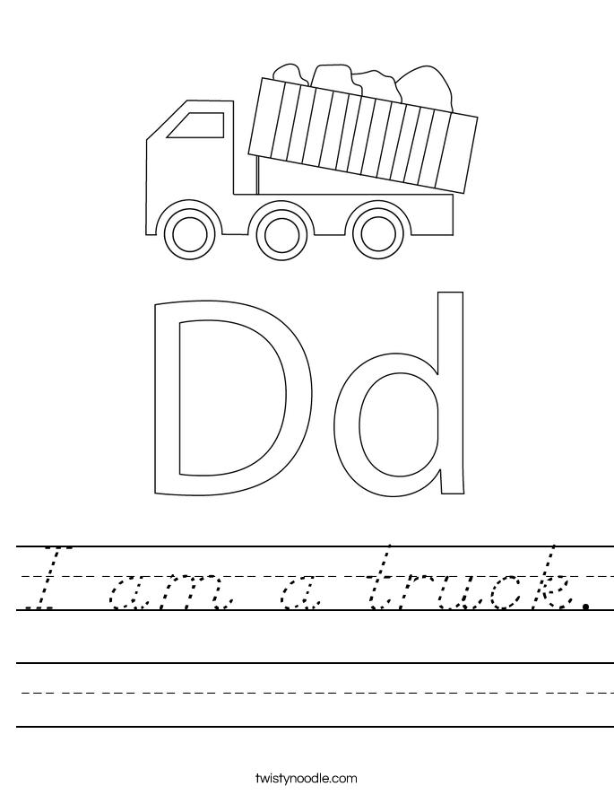 I am a truck. Worksheet