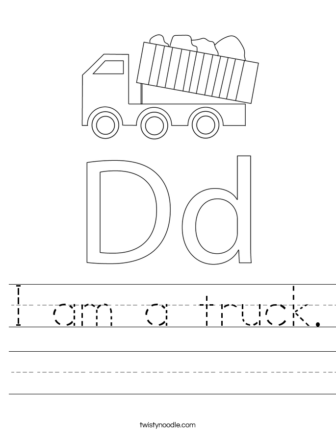 I am a truck. Worksheet