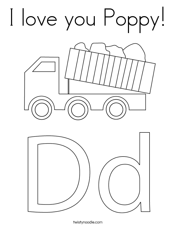 I love you Poppy! Coloring Page