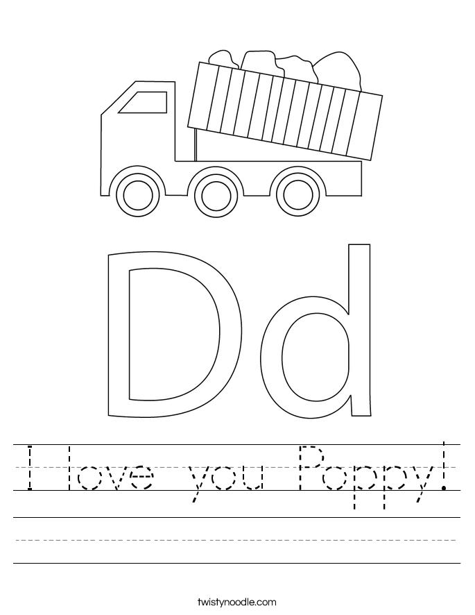 I love you Poppy! Worksheet