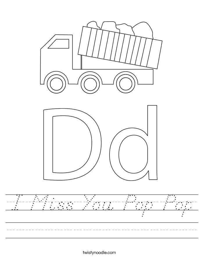 I Miss You Pop Pop Worksheet
