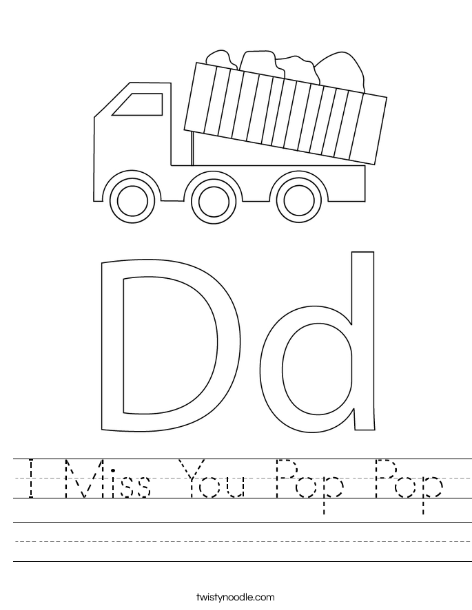 I Miss You Pop Pop Worksheet