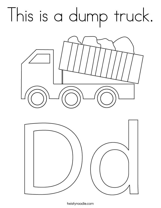 This is a dump truck. Coloring Page