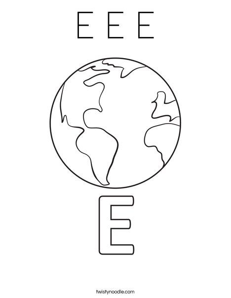 E Earth Coloring Page