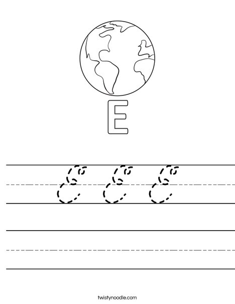 E Earth Worksheet
