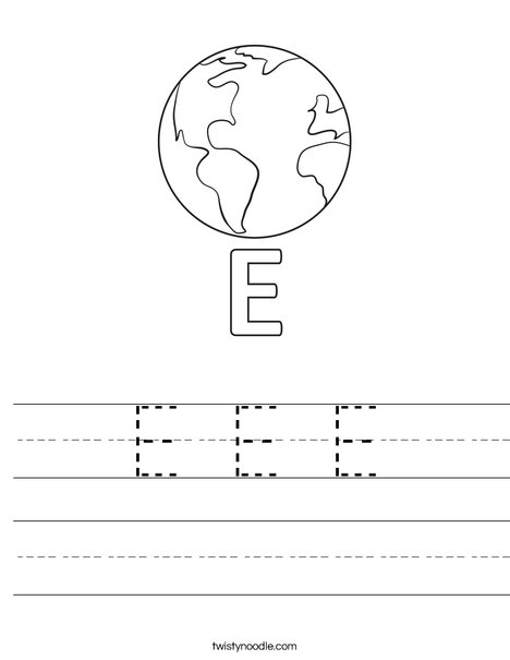 E Earth Worksheet