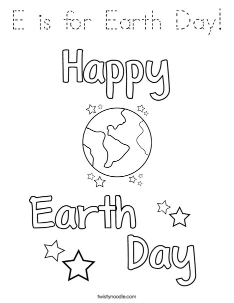 E is for Earth Day Coloring Page