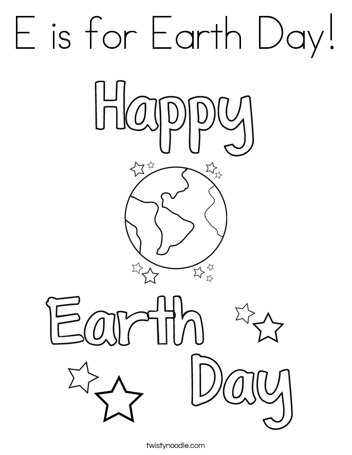 E is for Earth Day! Coloring Page