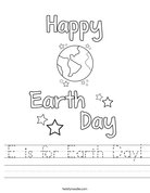 E is for Earth Day! Worksheet