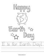 E is for Earth Day Handwriting Sheet