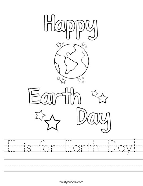E is for Earth Day Worksheet
