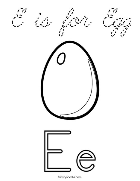 E is for Egg Coloring Page