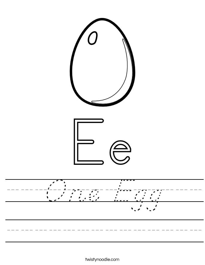One Egg Worksheet