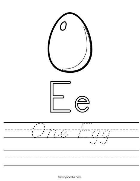 E is for Egg Worksheet