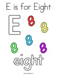 E is for Eight Coloring Page