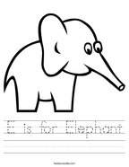 E is for Elephant Handwriting Sheet