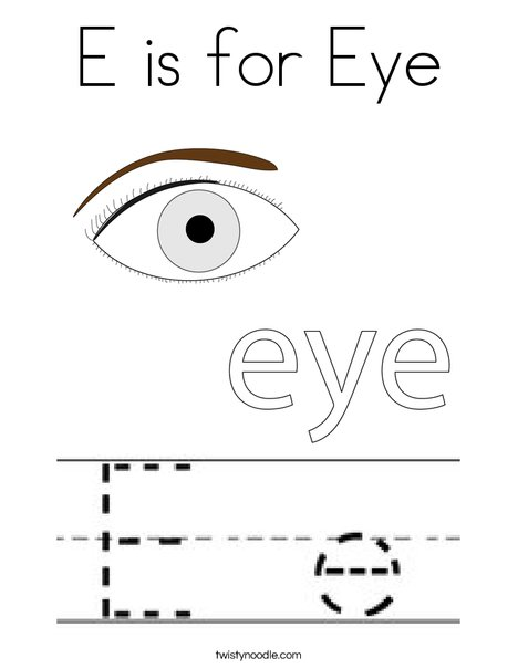 E is for Eye Coloring Page