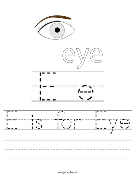 E is for Eye Worksheet
