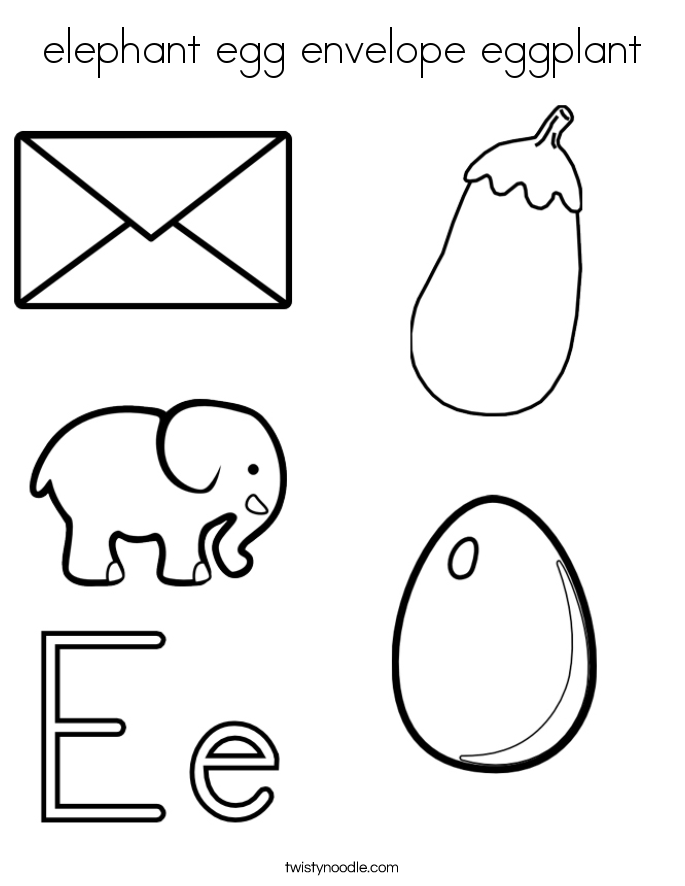 elephant egg envelope eggplant Coloring Page - Twisty Noodle