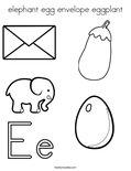 elephant egg envelope eggplantColoring Page