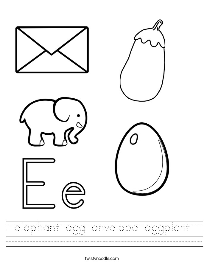 elephant egg envelope eggplant Worksheet