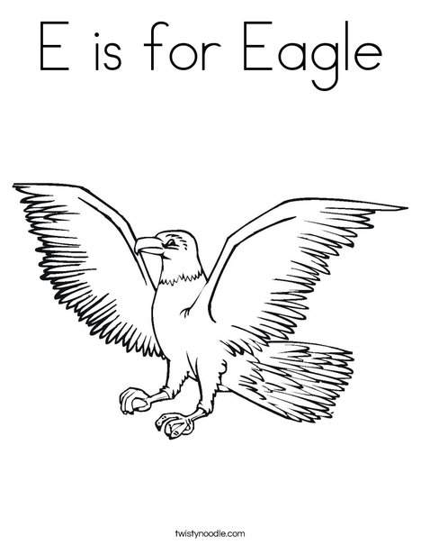 E Is For Eagle Coloring Page - Twisty Noodle